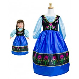 Frozen Anna Scandinavian Princess Replica Child and Doll Dress Set